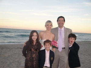Pam, Jason, and Children - family unity at their spiritual wedding ceremony in Delray Beach, Florida