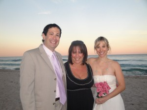 Cantor Debbi Ballard with Pamela and Jason at their spiritual wedding ceremony in Delray Beach, Florida