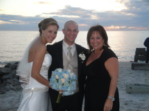Cantor Debbi Ballard with Brett and Andrea at their Jewish Interfaith wedding ceremony