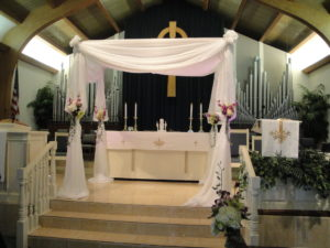 Jewish Interfaith Wedding Chuppah in the church in Fort Lauderdale, Florida