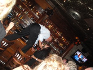 Rocco on the Bar with Tequila, after the Jewish Interfaith wedding ceremony