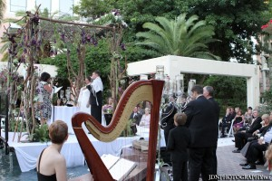 Side view of harpist and chuppah