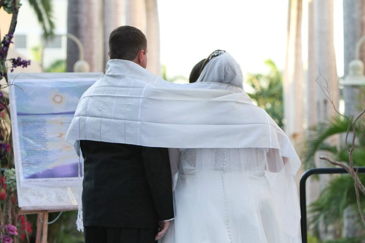 Tallit and 7 Blessing, Jewish-Interfaith wedding ceremony with Cantor, Rabbi and wedding officiant Debbi Ballard