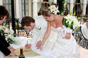 Dan and Rita sign their ketubah in Playa del Carmen, Mexico at the Riu Palace