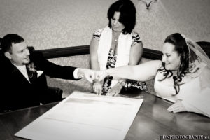 Signing Ketubah with Jewish Interfaith Wedding couple